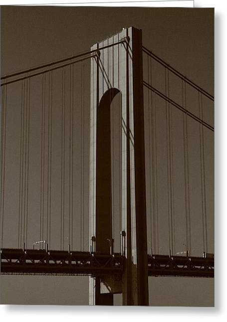 Verrazano Black And White Greeting Card by Christopher Kirby