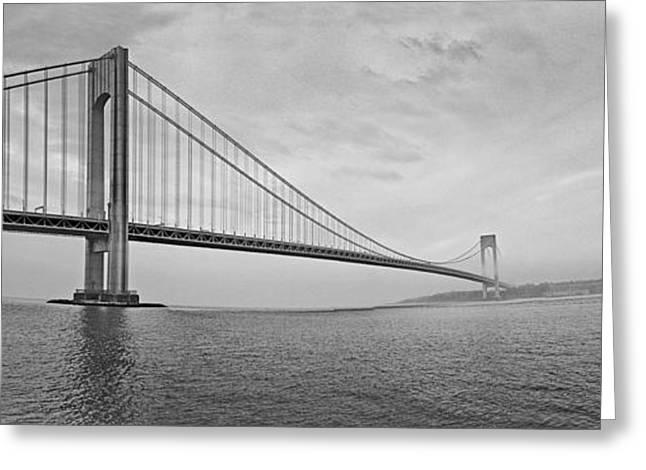 Verrazano Bridge - Small - 6 Ft Long - Panorama Greeting Card by Alex AG
