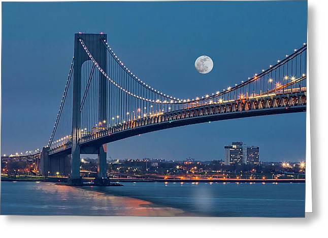 Greeting Card featuring the photograph Verrazano Narrows Bridge Moon by Susan Candelario