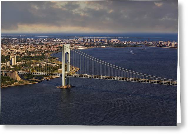 Verrazano Narrows Bridge Nyc Greeting Card by Susan Candelario