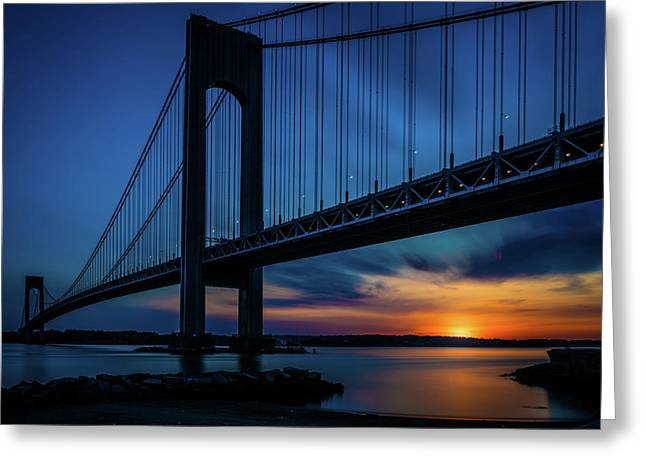 Greeting Card featuring the photograph Verrazano Sunset by Chris Lord
