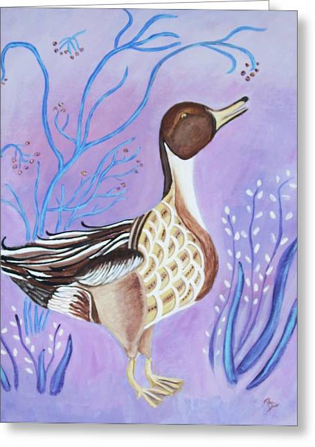 Version Of A Pintail Greeting Card by Belinda Lawson