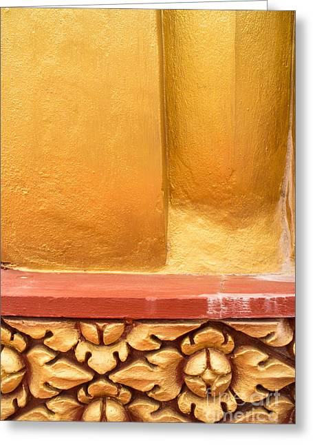 Vertical Abstract View Of Golden Section Of Buddhist Pagoda With Gold Floral Trim Below Greeting Card