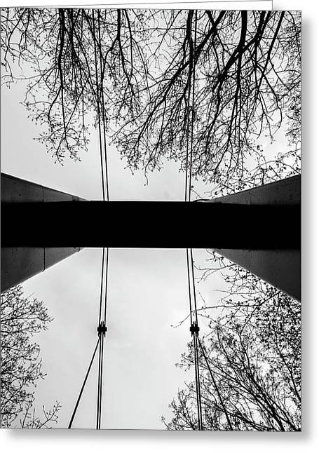 Greeting Card featuring the photograph Vertical Bridge In Bw by Nikos Stavrakas