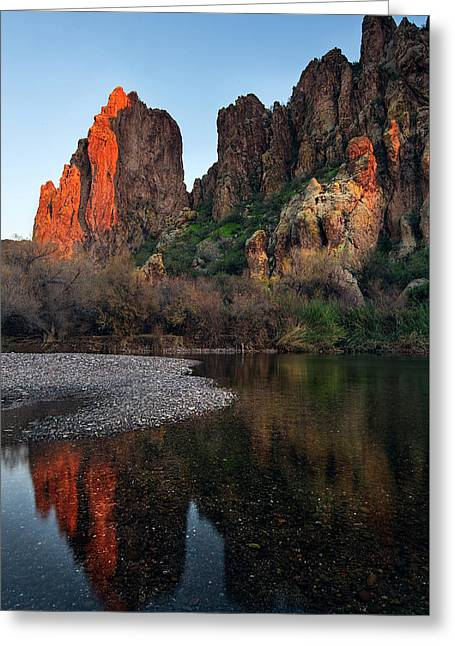 Greeting Card featuring the photograph Vertical Cliffs Reflected In The Salt River At Sunset by Dave Dilli
