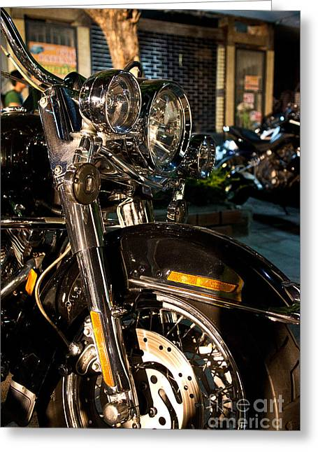 Vertical Front View Of Fat Cruiser Motorcycle With Chrome Fork A Greeting Card by Jason Rosette