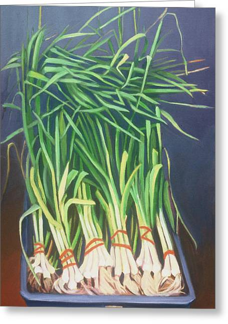 Vertical Scallions Greeting Card by Natasha Harsh