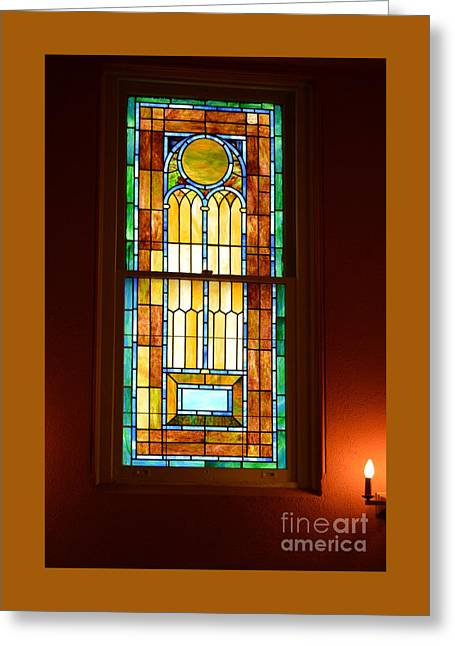 Vertical Stained Glass At The Sixth And I Temple Washington Greeting Card