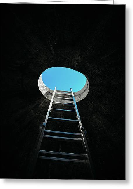 Vertical Step-ladder On Ceiling Window  Greeting Card