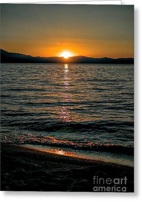 Vertical Sunset Lake Greeting Card