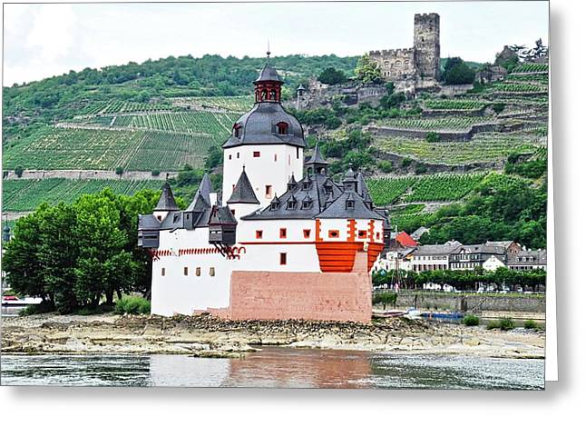 Vertical Vineyards And Buildings On The Rhine Greeting Card