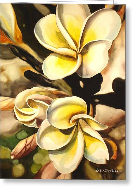 Verticle Plumeria Greeting Card