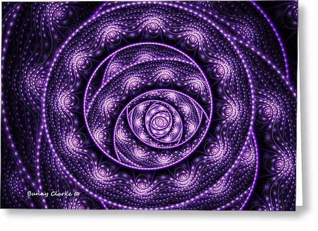 Vertigo In Purple Greeting Card by Bunny Clarke