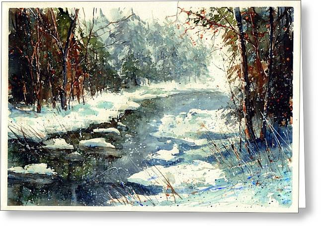Very Cold Winter Watercolor Greeting Card