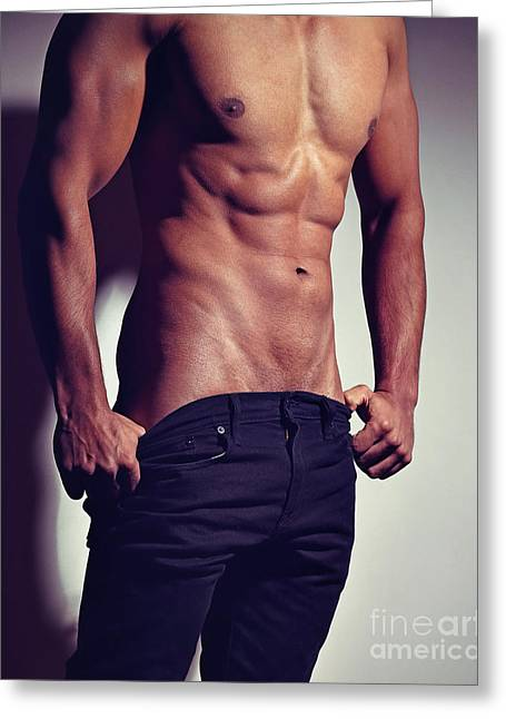 Very Sexy Man With Great Muscular Body Greeting Card