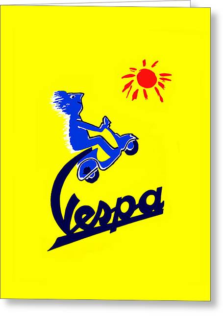 Vespa 1955 Greeting Card by Mark Rogan