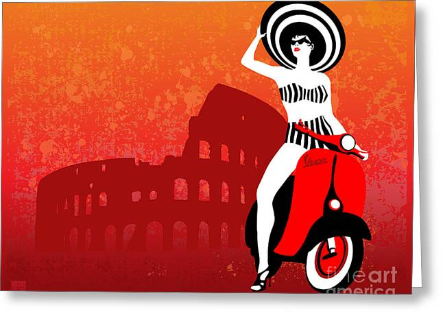 Vespa Girl Greeting Card