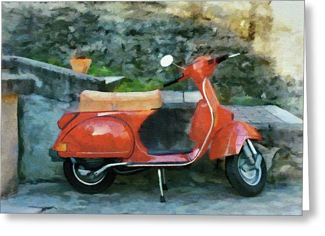 Greeting Card featuring the painting Vespa Parked by Jeff Kolker