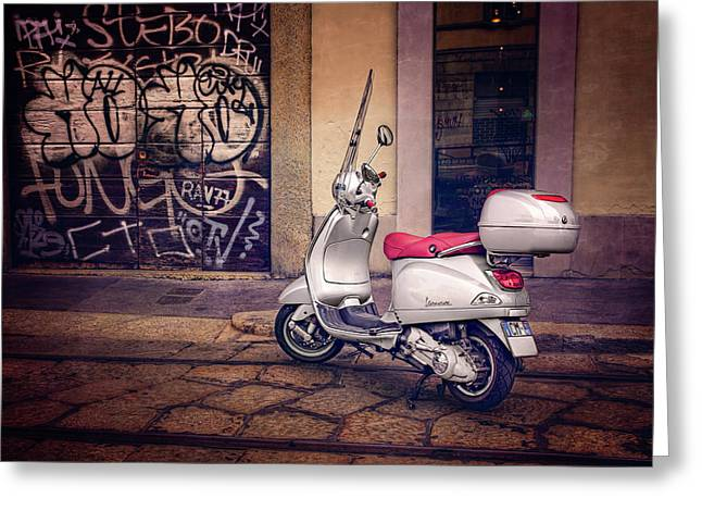 Greeting Card featuring the photograph Vespa Scooter In Milan Italy  by Carol Japp