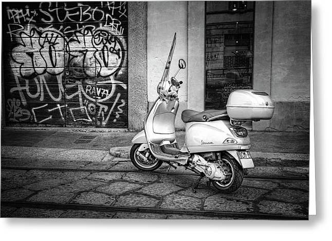 Greeting Card featuring the photograph Vespa Scooter In Milan Italy In Black And White  by Carol Japp