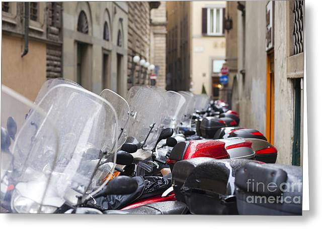 Vespas In Florence Greeting Card by Andre Goncalves