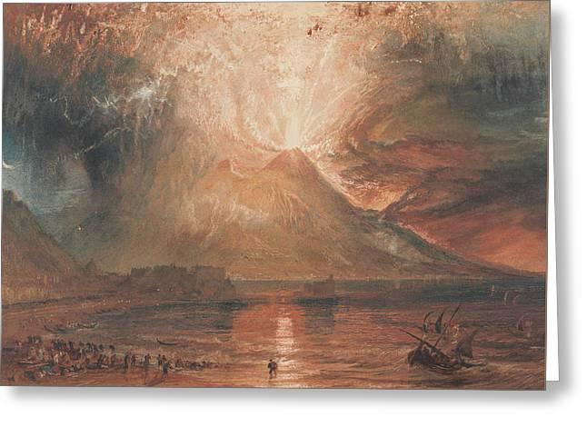 Vesuvius In Eruption Greeting Card by Joseph Mallord William Turner