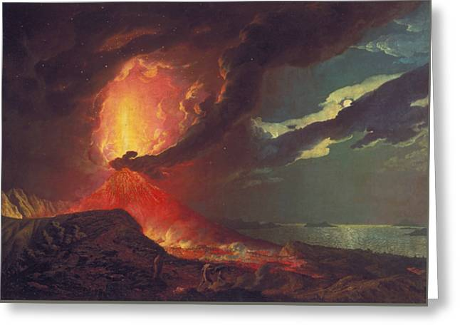 Vesuvius In Eruption, With A View Over The Islands In The Bay Of Naples Greeting Card by Joseph Wright