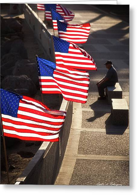 Veteran With Our Nations Flags Greeting Card