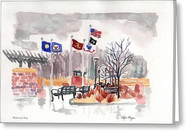 Veteran's Memorial Park Greeting Card by Rodger Ellingson