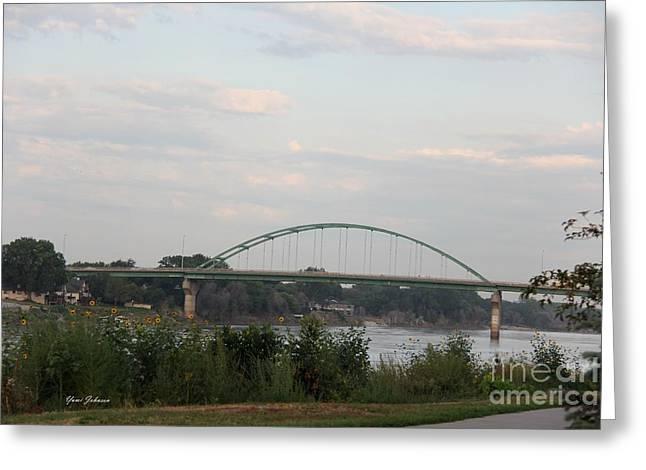 Vetrans Memorial Bridge Greeting Card by Yumi Johnson