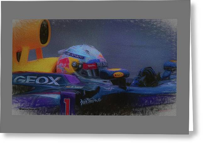 Vettel And Redbull Greeting Card by Marvin Spates