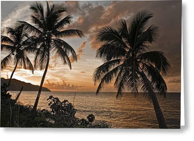 Vi Sunset On Cane Bay  Greeting Card