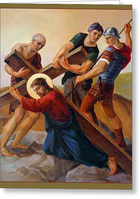 Via Dolorosa - Stations Of The Cross - 3 Greeting Card