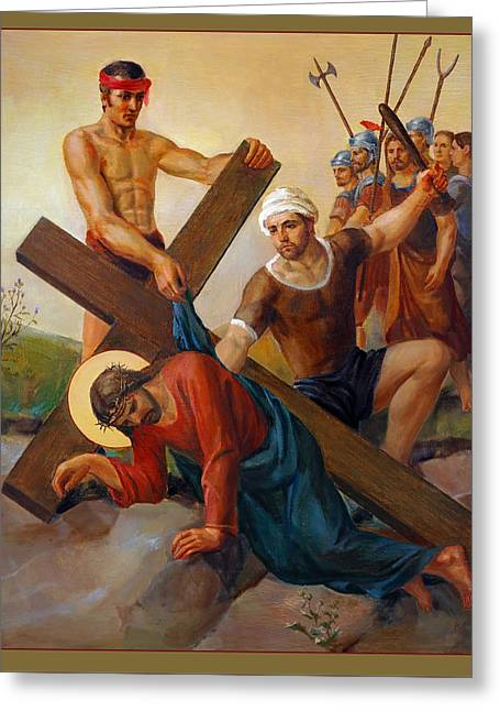 Via Dolorosa - The Second Fall Of Jesus - 7 Greeting Card by Svitozar Nenyuk