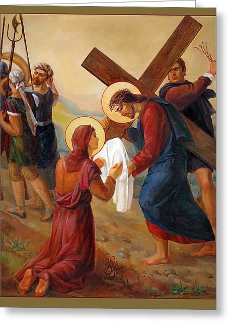 Via Dolorosa - Veil Of Saint Veronica - 6 Greeting Card by Svitozar Nenyuk