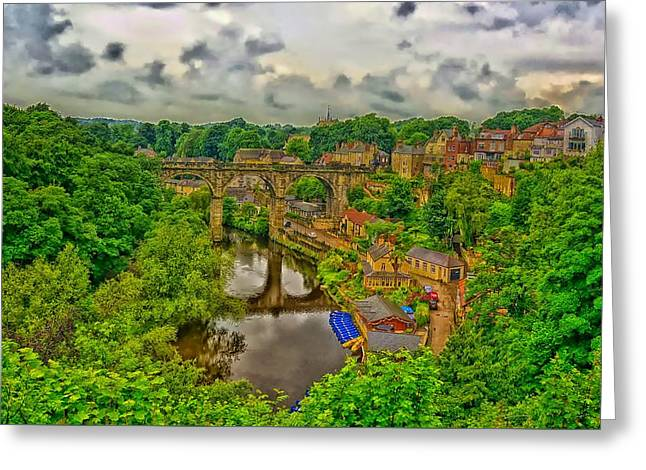 Viaduct Over The River Nidd Greeting Card by Barry Marsh