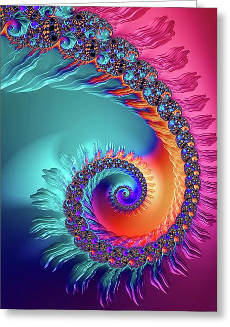 Vibrant And Colorful Fractal Spiral  Greeting Card