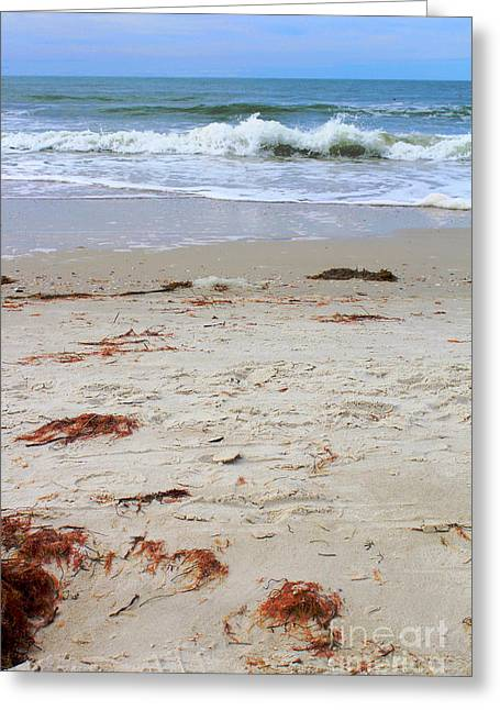 Vibrant Beach With Wave Greeting Card