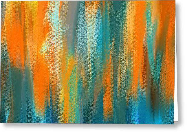 Vibrant Blues - Turquoise And Orange Abstract Art Greeting Card