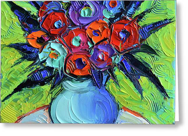 Vibrant Bouquet On Round White Table Greeting Card