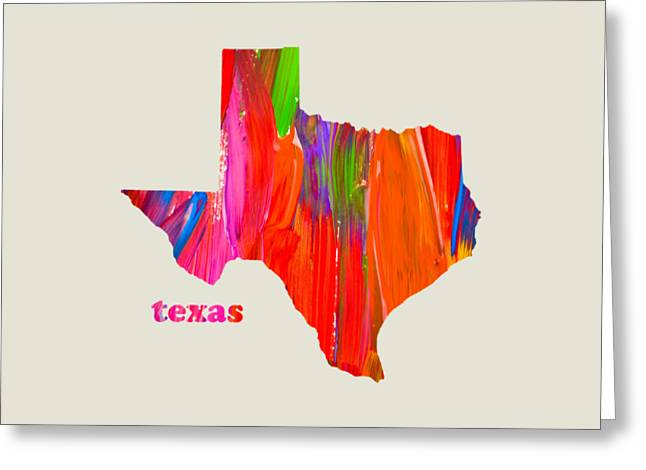 Vibrant Colorful Texas State Map Painting Greeting Card