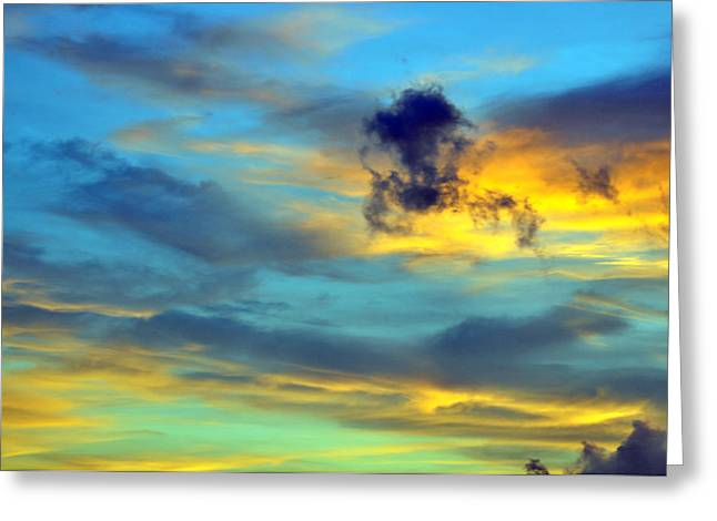 Vibrant Evening Sky Greeting Card by Rose  Hill