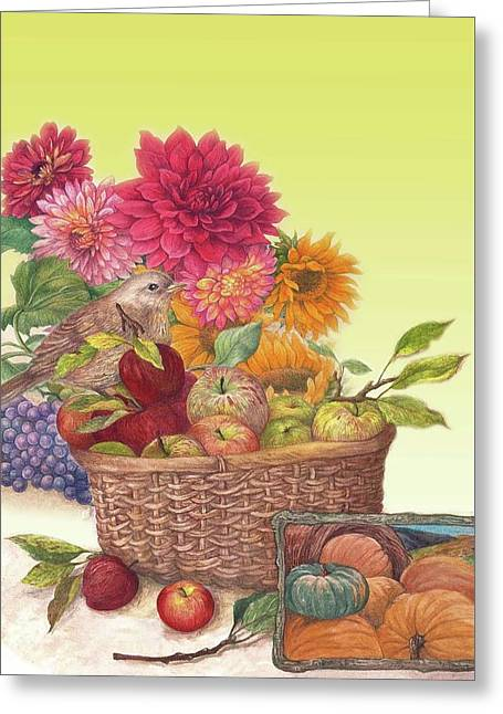 Vibrant Fall Florals And Harvest Greeting Card