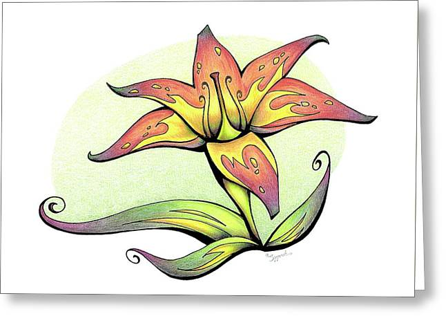 Vibrant Flower 4 Tiger Lily Greeting Card