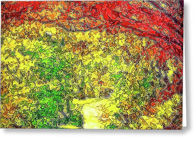 Greeting Card featuring the digital art Vibrant Garden Pathway - Santa Monica Mountains Trail by Joel Bruce Wallach