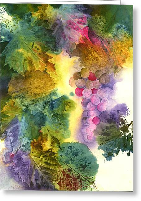 Vibrant Grapes Greeting Card by Gladys Folkers