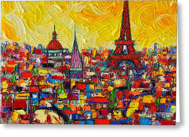 Vibrant Paris Abstract Cityscape Impasto Modern Impressionist Palette Knife Oil Ana Maria Edulescu Greeting Card