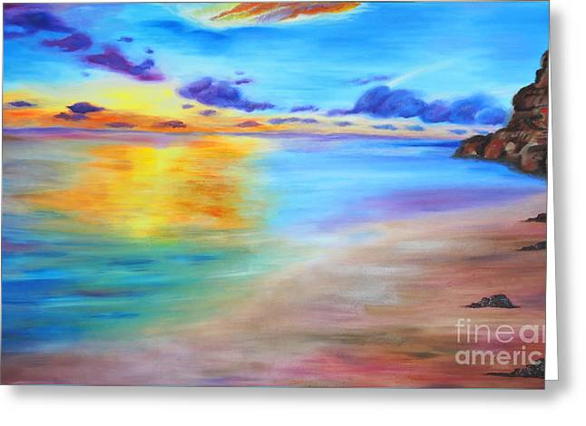 Rocky Sunset Shore Greeting Card