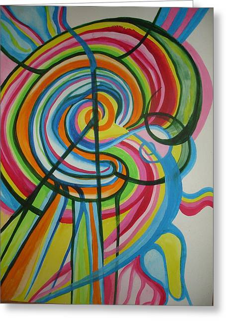 Greeting Card featuring the painting Vibrant Spirals by Erika Swartzkopf