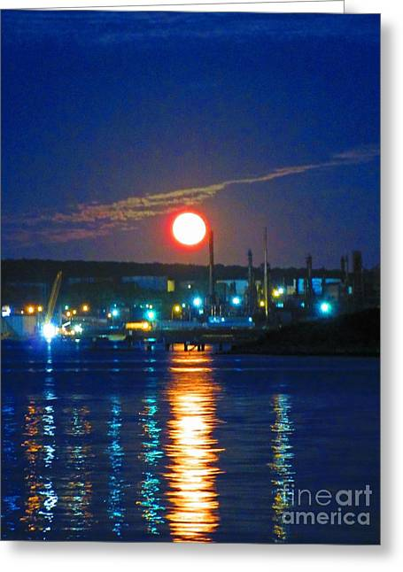 Vibrant Super Moon Greeting Card by John Malone